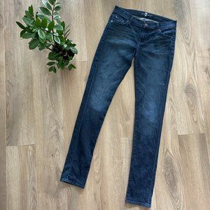 "7 For All Mankind Dark Blue ""Roxanne"" Skinny Jeans"